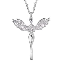 Simulated Diamond and White Austrian Crystal Angel Pendant With Chain (Size 29 with 2 inch Extender)
