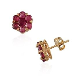 Limited Edition- Designer Inspired African Ruby Pressure Set in 14K Gold Overlay Sterling Silver Earring  2.250  Ct.