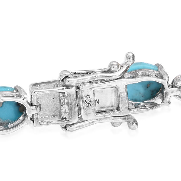 Turquoise (Ovl), Diamond Bracelet (Size 7.5) in Platinum Overlay Sterling Silver 20.250 Ct, Silver wt 9.00 Gms