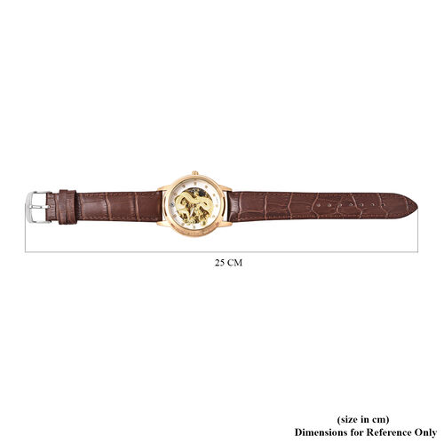 GENOA Automatic Movement White Austrian Crystal Studded White Dial Water Resistant Dragon Skeleton Watch in Dual Tone with Brown Leather Strap