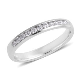 0.2 Ct Diamond Half Eternity Ring in 14K White Gold 1.80 Grams I3 GH