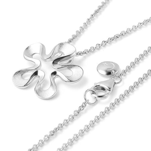 RACHEL GALLEY Sandblast Collection - Rhodium Overlay Sterling Silver Floral Design Pendant With Chain (Size 30), Silver wt. 10.22 Gms