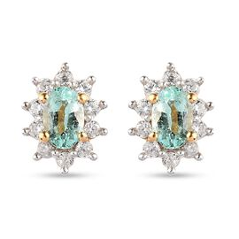 Colombian Emerald and Natural Cambodian Zircon Earrings (with Push Back) in 14K Gold Overlay Sterlin