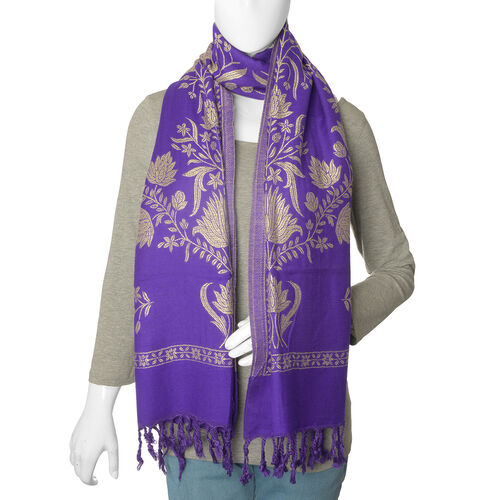 One Time Deal- Designer Inspired Purple Colour Shawl (Size 200x70 Cm)