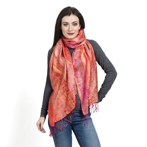 SILK MARK- 100% Superfine Silk Orange and Multi Colour Jacquard Jamawar Scarf with Fringes (Size 190