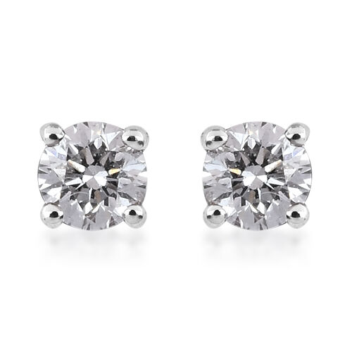 RHAPSODY 950 Platinum IGI Certified Diamond (VS/E-F) Solitaire Stud Earrings (with Screw Back) 0.20