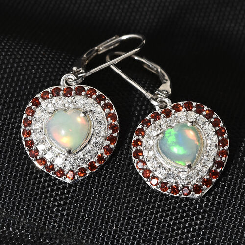 Ethiopian Welo Opal (Hrt), Mozambique Garnet, Natural Cambodian Zircon Lever Back Heart Earrings in Platinum Overlay Sterling Silver  3.500 Ct.