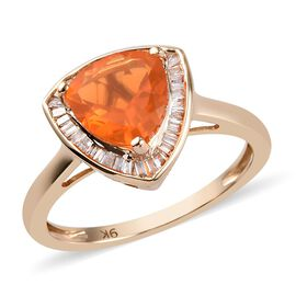 1.25 Ct Jalisco Fire Opal and Diamond Halo Ring in 9K Gold