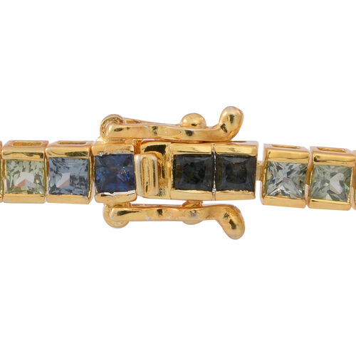 Limited Edition-AAA Rainbow Sapphire (Sqr) Tennis Bracelet (Size 7.5) in 14K Gold Overlay Sterling Silver 9.500 Ct.