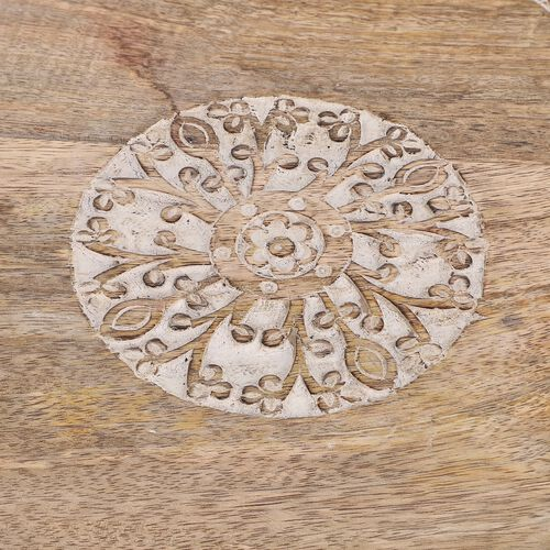 NAKKASHI Hand Carved Natural Antique Finish Wooden Food Serving Rotating Round Tray (Dia. 40cm)