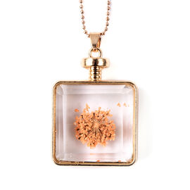 Dried Flower Pendant with Chain (Size 24) in Yellow Gold Tone