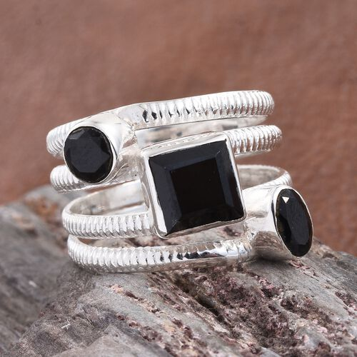 Boi Ploi Black Spinel Scatter Ring in Sterling Silver 3.860 Ct. Silver wt 6.27 Gms.
