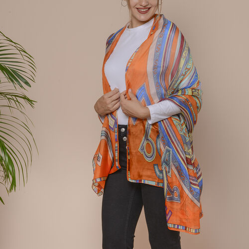 Orange and Multi Circle Pattern 100% Mulberry Silk Scarf (Size 175x110 Cm)