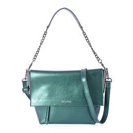 Sencillez 100% Genuine Leather Emerald Green Metallic Colour Shoulder Bag with External Zipper Pocket and Removable Shoulder Strap (Size 29x21x10x21 Cm)