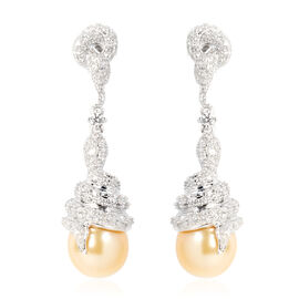South Sea Golden Pearl and White Zircon Drop Earrings in Rhodium Plated Sterling Silver 8.7 Grams