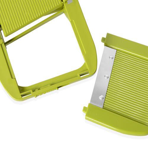 Set of 7 Green Colour Multi-Functional Adjustable Shredder including 1 Food Container,1 Butting Board,1 Vegetable Holder,1 Wavy Slicer,1x1.5 mm Shredder,1 x 2.5mm Shredder and 1 x 2.0 mm Slicer