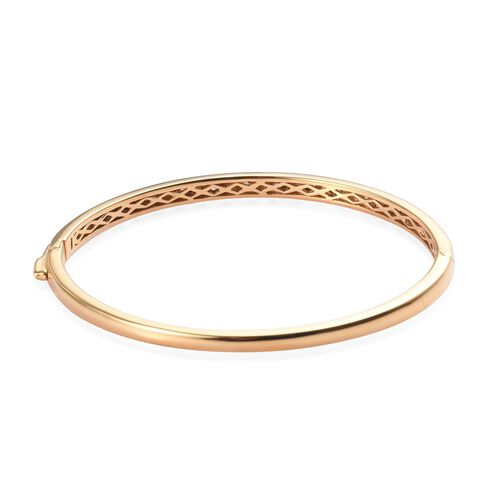 Diamond Bangle (Size 7.5) in 14K Gold Overlay Sterling Silver 0.20 Ct, Silver wt 15.00 Gms