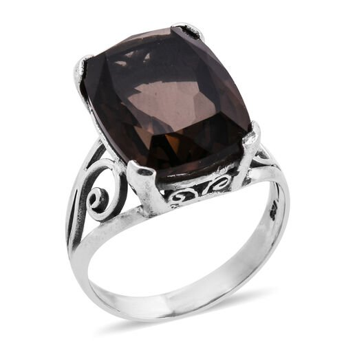 Royal Bali 13.7 Ct Smoky Quartz Solitaire Ring in Sterling Silver