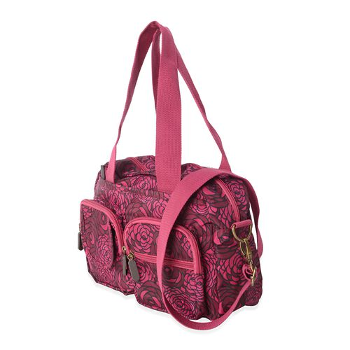 Annabelle Water Resistan Dark Fuchsia Flower Pattern Large Tote Bag with Removable Shoulder Strap and External Zipper (Size 30x20x9 Cm)