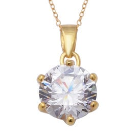 ELANZA Swiss Star Simulated Diamond (Rnd) Pendant With Chain (Size 18) in Yellow Gold Overlay Sterli