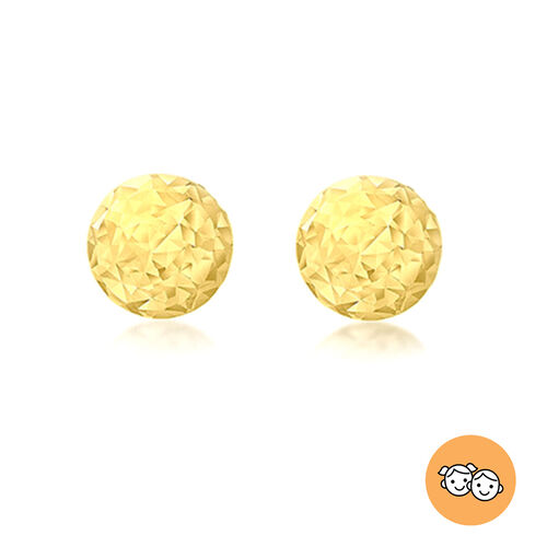 9K Yellow Gold Diamond Cut Ball-Stud Earrings (with Push Back)