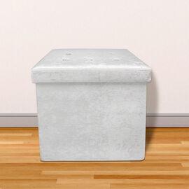 Lesser and Pavey Velvet Folding Storage Ottoman Box in White (Size 38x38x38 cm)