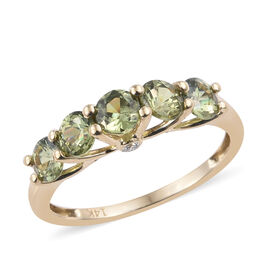 New York Close Out Deal 1.53 Ct AA Russian Demantoid Garnet and Diamond 7 Stone Ring in 14K Gold