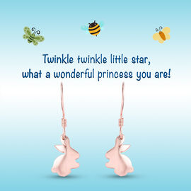 Bunny Hook Earrings for Kids in Rose Gold Plated Silver