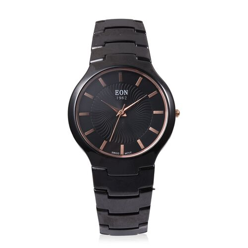 EON 1962 Swiss Movement 3ATM Water Resistant Watch with Diamond Cutting Glass and Black Ceramic Stra
