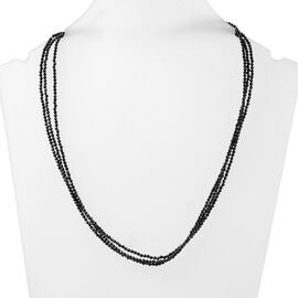 58 Carat Natural Boi Ploi Black Spinel Multi Strand Beaded Necklace in Silver 18 Inch