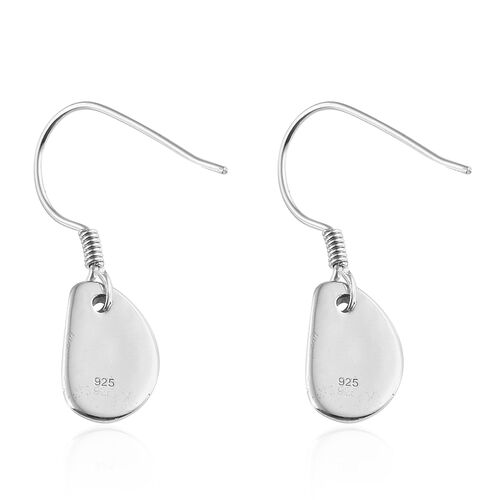 Platinum Overlay Sterling Silver Pebble Hook Earrings, Silver wt. 3.19 Gms.