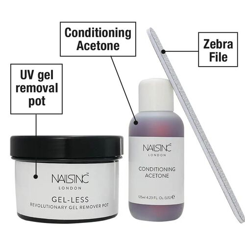 Nails Inc: Gel-Less Remover Kit (Incl. Remover Pot, Conditioning Acetone & Zebra File)