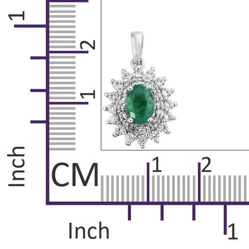 Collectors Edition- Premium Santa Terezinha Emerald (Ovl 7x5 mm), Natural Cambodian Zircon Pendant in Platinum Overlay Sterling Silver 1.250 Ct.