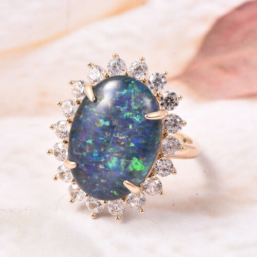 9K Yellow Gold AAA Australian Rare Size Boulder Opal and Natural Cambodian Zircon Ring