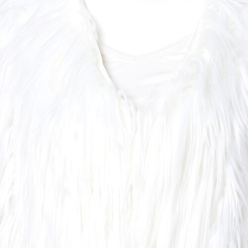 Designer Inspired White Colour Faux Fur Vest (Size 60X52 Cm)