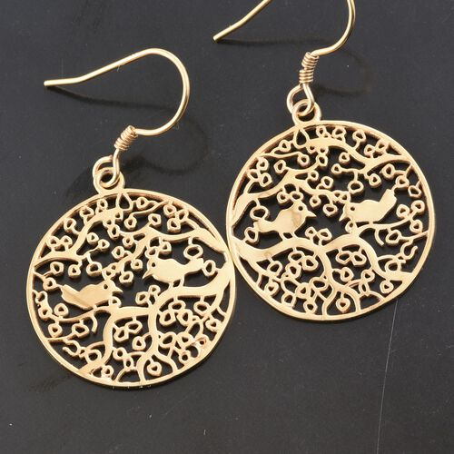 Yellow Gold Overlay Sterling Silver Bird on Branches Hook Earrings, Silver wt 5.06 Gms.