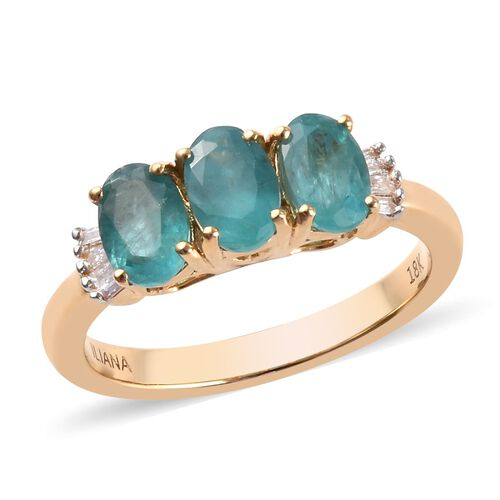 ILIANA AAAA Grandidierite and Diamond Trilogy Ring in 18K Yellow Gold 3.74 Grams SI GH 1.35 Ct