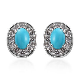 2.50 Ct Arizona Sleeping Beauty Turquoise and Zircon Stud Halo Earrings in Platinum Plated Silver