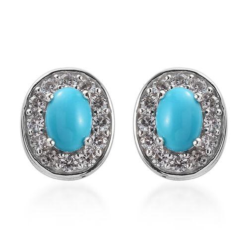 2.50 Ct Arizona Sleeping Beauty Turquoise and Zircon Stud Halo Earrings in Platinum Plated Silver