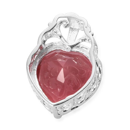 Coral Colour Quartz (Hrt 12 mm) Heart Pendant in Sterling Silver 6.250 Ct.