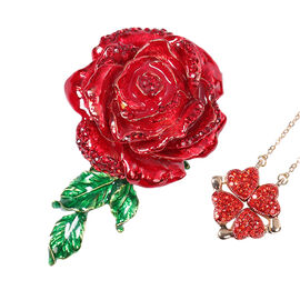 Red Austrian Crystal Rose-Shaped Enamelled Trinket Box and Necklace (Size 18-20 with 3 inch Extender