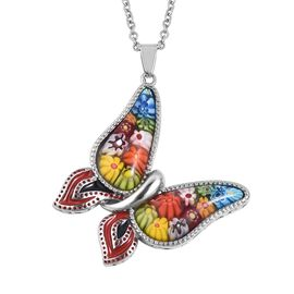 Murano Style Glass Butterfly Pendant With Chain (Size 20) in Stainless Steel