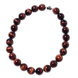 Rare Size Red Tiger Eye (Rnd 19-21 mm) Necklace (Size 20) with Magnetic Lock in Rhodium Overlay Ster