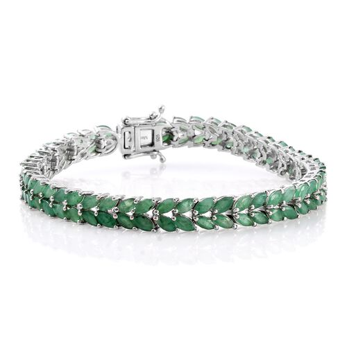 Limited Edition- Kagem Zambian Emerald (Mrq) Bracelet (Size 7.5) in Platinum Overlay Sterling Silver 13.000 Ct. Silver wt 15.81 Gms.