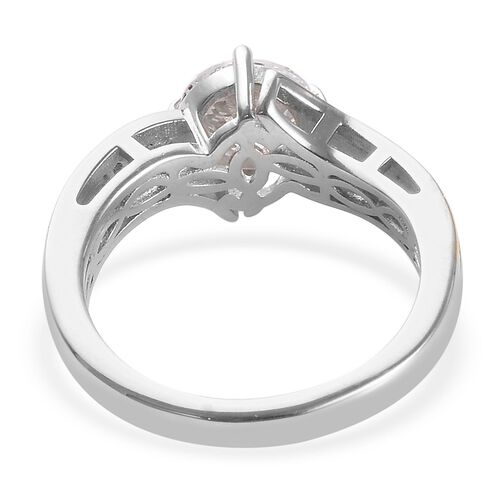 J Francis - Platinum and Yellow Gold Overlay Sterling Silver (Rnd)  Ring Made with SWAROVSKI ZIRCONIA 1.36 Ct.