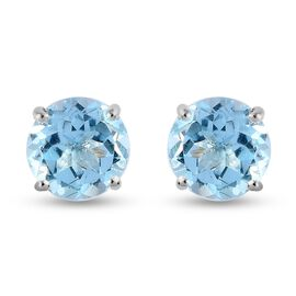 Skyblue Topaz Stud Earrings (with Push Back) in Sterling Silver 5.71 Ct.