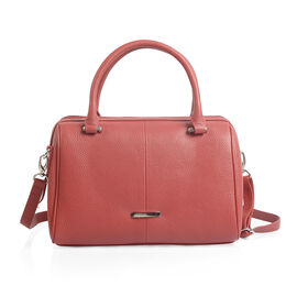 Close Out Deal 100% Super Soft Genuine Leather Sassy Red Colour Duffle Bowling Bag (Size 29x23x10 Cm)