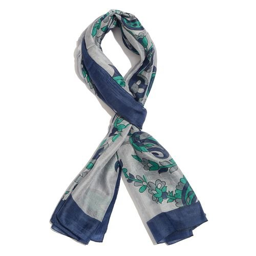 100% Mulberry Silk Blue, Green and Grey Colour Floral and Paisley Hand Screen Printed Scarf (Size 180X100 Cm)