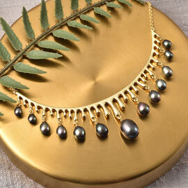 LucyQ Pearl Drop Collection- Freshwater Peacock Pearl Necklace (Size:16 with 4 inch Extender) in Yellow Gold Overlay Sterling Silver