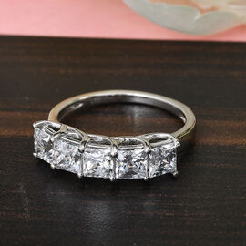 J Francis Platinum Overlay Sterling Silver 5 Stone Ring Made with SWAROVSKI ZIRCONIA 3.52 Ct.